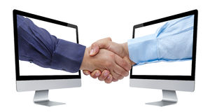 Handshaking Deal Computer Perspective Isolated Royalty Free Stock Photography