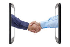 Handshaking Deal Smartphone Perspective Isolated Stock Photo