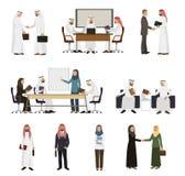 Handshaking för folk för affär för arabisk affärsmanvektor arabisk till hans affärspartnerillustrationuppsättning av arabiska vektor illustrationer