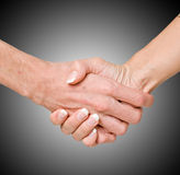 Handshaking man and woman Stock Photos