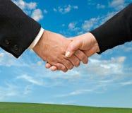 Handshaking man and woman Royalty Free Stock Photo