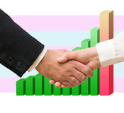 Handshaking man and woman Royalty Free Stock Image