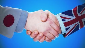 Japan - United Kingdom / Handshake concept animation about countries and politics / With matte channel. Handshaking of the men wearing flag pattern suit 4K stock video
