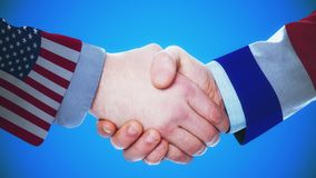 United States - France / Handshake concept animation about countries and politics / With matte channel. Handshaking of the men wearing flag pattern suit 4K stock video footage