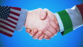 United States - Italy / Handshake concept animation about countries and politics / With matte channel. Handshaking of the men wearing flag pattern suit 4K stock video