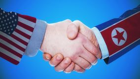 United States - North Korea / Handshake concept animation about countries and politics / With matte channel. Handshaking of the men wearing flag pattern suit 4K stock footage