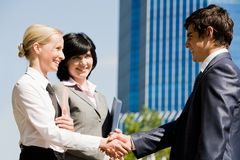 Handshaking partners Stock Images