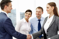Handshaking partners Royalty Free Stock Image