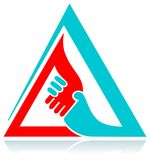 Handshaking in triangle. Isolated illustrated logo design Stock Photos