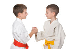 Handshaking of two boys in kimono Royalty Free Stock Photo