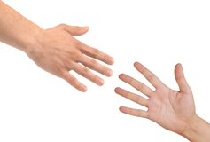 Handshakings isolated on white Conceptual photo Stock Photo