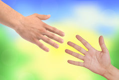 Handshakings over nature background Royalty Free Stock Photo