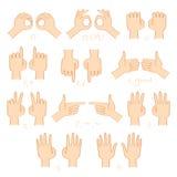 Handshow-Zahl- und Richtungsvektorsatz Stockfotografie
