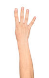 Handshower fyra fingrar Royaltyfri Bild