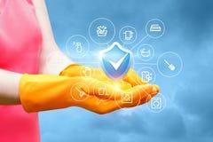 Handshowqualitätsreinigungsdienstleistungen Lizenzfreie Stockfotografie