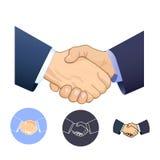Handskakning affär, hälsning, avtal stock illustrationer