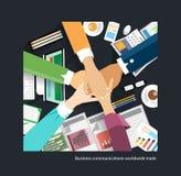 Handskakning för affär för handel för affärskommunikationer världsomspännande Arkivbild
