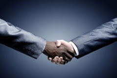 Handskakning - hand som på rymmer black royaltyfria foton