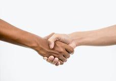 handskakning isolerad white Arkivfoton