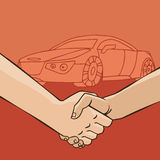 Handskakning med bilen Royaltyfria Bilder