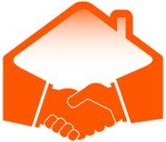 Handskakning med taksymbolen Royaltyfria Foton
