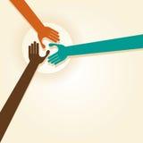 Handskakningen teamwork räcker logo också vektor för coreldrawillustration Royaltyfri Bild