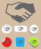 Handskakningsymbol med klistermärkear. Vektor Arkivbild