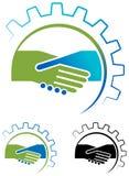 Handskakningtecken och industriellt idébegrepp Royaltyfri Fotografi