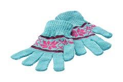 handskar isolerade den vita vintern Royaltyfria Foton