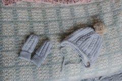 Handskar och hatt för vinter Fotografering för Bildbyråer