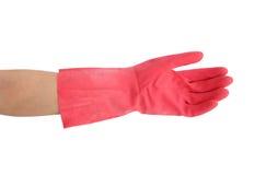 Handske för att göra ren med handen på vit bakgrund Arkivbild