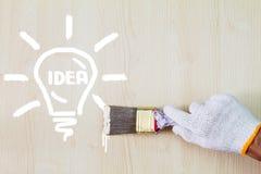 Handske för hand för man` som s bärande vit rymmer den gamla grungemålarpenseln och målar lightbulben på träväggen Arkivfoto