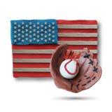 Handske och boll för baseball handgjord Fotografering för Bildbyråer