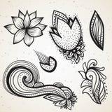 Handsketched设置了美好的mehndi设计元素 无刺指甲花临时一刹那纹身花刺 传统种族样式部族装饰品 向量例证