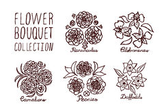 Handsketched bouquets collection Royalty Free Stock Photography