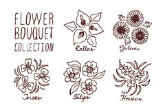Handsketched bouquets collection Stock Photos