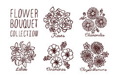 Handsketched bouquets collection Royalty Free Stock Images