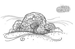 Handsketched illustration av wintergardenen Frihandslinjär hand dragen stil för retro klotter för bild grafisk vektor illustrationer