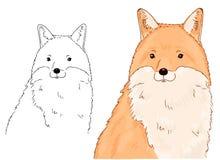 Handskizze des Fuchsporträts auf weißem Hintergrund Vektorillustration des Tieres gut für Malbuch für Kinder lizenzfreie abbildung