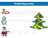 Handskriftövningsark Bildande barn spelar, återställer den streckade linjen Handstil som utbildar tryckbar julXmas, och nytt Arkivbild
