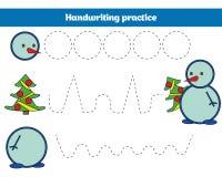 Handskriftövningsark Bildande barn spelar, återställer den streckade linjen Handstil som utbildar tryckbar julXmas, och nytt royaltyfri foto