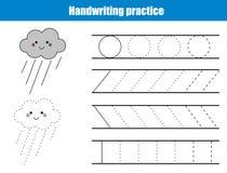 Handskriftövningsark Bildande barn spelar, den tryckbara arbetssedeln för ungar Handstil som utbildar den tryckbara arbetssedeln  stock illustrationer