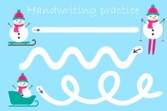 Handskriftövningsarket, jultemat, snögubbear, förskole- aktivitet för ungar, bildande barn spelar, den tryckbara arbetssedeln, vektor illustrationer