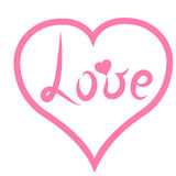 handskrift ` För förälskelse för ` för bokstäverrosa färgord i ljus - rosa hjärta Romantisk stil med hjärta också vektor för core Royaltyfri Bild