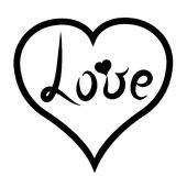 handskrift Märka svart ord` för att älska ` i svart hjärta Romantisk stil med hjärta också vektor för coreldrawillustration Royaltyfri Bild