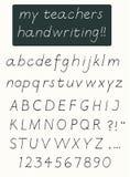 Handskriftalfabet Arkivfoto