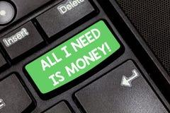 Handskriftall text som jag behöver, är pengar Kassa för problem för begreppsbetydelse som finansiell krävs för att utföra måltang arkivfoton