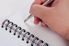 handskriftanteckningsbokpenna Royaltyfri Bild