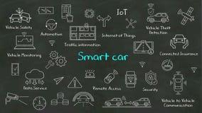 Handskriftbegrepp av ` för `-Smart bil på den svart tavlan royaltyfri illustrationer