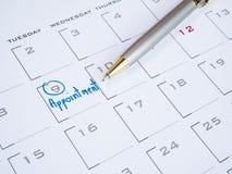 Handskriftordtidsbeställning på kalender 3 Fotografering för Bildbyråer